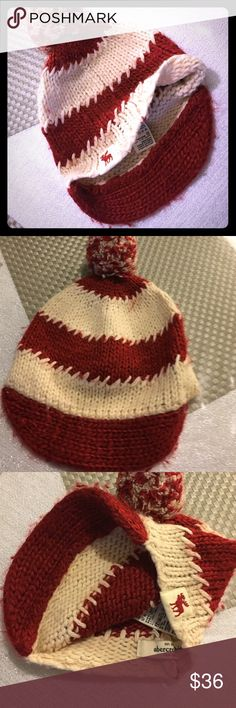 Abercrombie New York winter hat Abercrombie NY WINTER HAT. Red and off white great condition. Some fuzz from washing please refer to pictures for details. Abercrombie & Fitch Accessories Hats