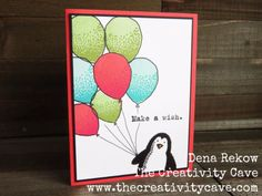 Create an adorable card using Stampin Up's Snow Place, Party With Cake,  and Balloon Celebration Stamp sets.  There is a video tutorial on my blog to make this card--wait till you see the awesome inside!