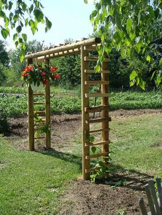 arbor made of landscape ties This is such a coincidence. I was thinking about adding vegetables in my flower garden and thought maybe if I made an arbor and fenced it in, it would look okay and the arbor could be where veggies that climb could go. Garden Trellis, Garden Gates, Bamboo Garden Fences, Bean Trellis, Fenced Garden, Grape Vine Trellis, Wood Trellis, Garden Shrubs, Grape Arbor