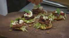 Braised Lamb Shoulder Tostada - from MasterChef Australia Tostadas, Braised Lamb Shoulder, Masterchef Recipes, Sunday Recipes, Savory Snacks, Casserole Dishes, Appetizer Recipes, Appetizers, Finger Foods