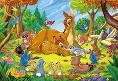 Desenho do Bambi com sua mãe e todos seus amigos na floresta #bambi bambi com a mae