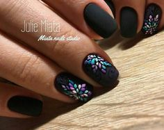 38 Ideas for nails gel black ongles Uñas Fashion, Short Square Nails, Diy Nail Designs, Trendy Nail Art, Nagel Gel, Flower Nails, Creative Nails, Winter Nails, Summer Nails
