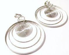 3 3/4 Silver Plated Five Hoop Clipon Handcrafted Earrings by ADKOR, $9.75