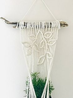 Most recent Photo Macrame Plant Hanger succulent Suggestions There are numerous ways anyone can create a macrame seed hanger. However, several tutorials much eas Wall Plant Hanger, Macrame Plant Hangers, Plant Wall, Hanging Succulents, Flower Pots, House Warming, Wall Decor, Loom Bracelets, Macrame Bracelets