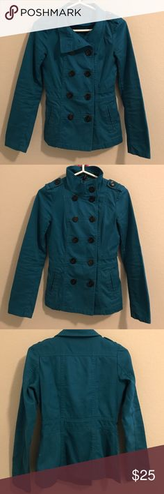 H&M Divided Jacket Dark Teal Size 4 Jean Material Jacket. You can wear open, half buttoned or buttoned all the way up. H&M Jackets & Coats