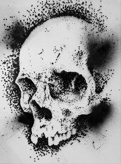 stipple skull drawing