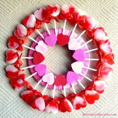 """Have you ever made a craft with something edible? I thought Valentine's Day was the perfect time to try a """"candy"""" wreath. Using a floral ring and Dollar S Homemade Valentines Day Cards, Valentine Crafts For Kids, Valentine Wreath, Valentines Day Party, Valentine Decorations, Diy Crafts For Kids, Diy Valentine, Craft Ideas, Fun Ideas"""