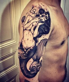 The Danger Mermaid Tattoo. Depicting her symbolism, this mermaid tattoo is definitely an alarm for danger.