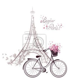 """Stickers """"tour, pedal, transportation - bonjour paris text with eiffel tower and bicycle"""" ✓ Easy Installation ✓ 365 Day Money Back Guarantee ✓ Browse other patterns from this collection!"""