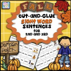 REVISED as of 9/2/15!!! This set of 60 cut-and-glue sentences covers more than 130 Dolch sight words, including ALL of the words for 2nd and 3rd grade. There are sentences with 5, 6, or 7 parts to cut out, rearrange, and glue on another sheet. These sentences are perfect for teaching not only sight words, but also grammar and punctuation. $