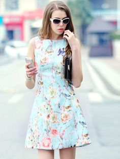 Blue A-Line Dress Floral Print Cotton Dress
