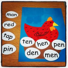 Little Red Hen rhyming words / word families for foundation stage.