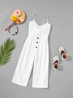 Girls Button Up Front Cami Jumpsuit Kids Dress Wear, Dresses Kids Girl, Cute Girl Outfits, Kids Outfits Girls, Teen Fashion Outfits, Cute Outfits For Kids, Cute Casual Outfits, Kids Fashion, Latest Fashion