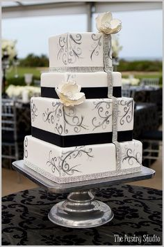 Elegant Modern Black Silver White Square Wedding Cakes Photos & Pictures - WeddingWire.com