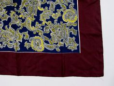 1930s 1940s Silk Scarf in Paisley Large