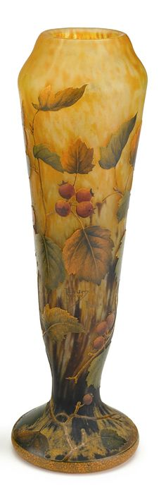 DAUM___ acid-etched glass vase with leaves and berries  nancy, france, circa 1905…