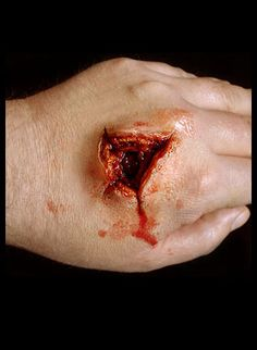 "[  http://www.pinterest.com/toddrsmith/boo-who-adult-halloween-ideas/  ]  - hand ""Exit wound"" prosthetic made from gelatin"