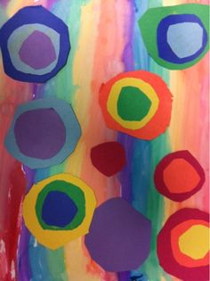 Kandinsky Rainbow  Study: Kandinsky, watercolor, pattern, line, shape, contrast Skill: papercutting, use of watercolor, collage