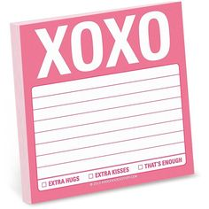 Knock Knock Sticky Note Pad, XOXO ($2.18) ❤ liked on Polyvore featuring home, home decor and stationery