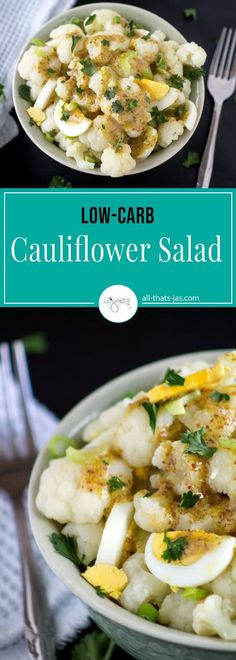 Cauliflower Salad: Low-Carb Mock Potato Salad - This cauliflower salad gives you all the flavors of your beloved potato salad minus the carbs. Easy to make it's a great dish to take to a summer picnic or party. | allthatsjas.com | #lowcarb #keto #paleo #healthy #salad #recipe #recipeofthemonth #wholesome #cauliflower #vegetarian #summermeal