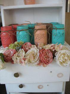 Painted Mason Jars  TheShabbyChicWeddding on ETSY