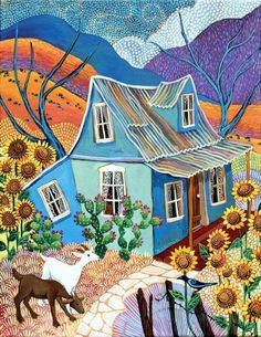 Two goats at blue house by sally bartos Cottage Art, Southwest Art, Naive Art, Folk, Western Art, Abstract Landscape, Home Art, Flower Art, Art Decor