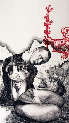 Chris Diedericks - Mechanisms of hating pin ed 3d Drawings, Cartoon Drawings, Contemporary Artwork, Modern Art, Art Gay, Afrique Art, South African Artists, Art Of Man, Rose Art