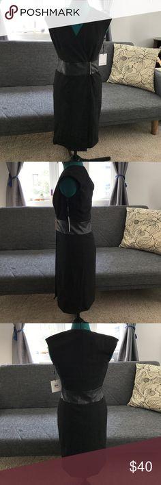 Calvin Klein Black dress Formal or Business Casual black Calvin Klein dress! NWT- leather and gold details! Calvin Klein Dresses Midi