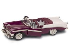 This Chevrolet Bel Air Convertible (1956) Diecast Model Car is Purple and features working steering, suspension, wheels and also opening bonnet with engine, doors. It is made by Road Signature and is 1:18 scale (approx. 26cm / 10.2in long).  ...