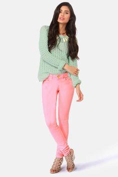 Moto Braxton Jeans - Skinny Jeans - Neon Pink Jeans
