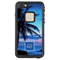 #initial - #Custom Tropical Island Beach Pink Blue Sunset LifeProof FRĒ iPhone 6/6s Plus Case