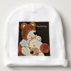 Adorable Bear Hugs Baby Beanie - kids kid child gift idea diy personalize design