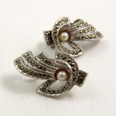 Vintage Art Deco Style Marcasite Seed Pearl Clip On Earrings, Signed Sphinx by mybooms on Etsy