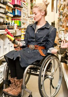 A jean dress from adaptive clothier IZ Adaptive.  >>> See it. Believe it. Do it. Watch thousands of spinal cord injury videos at SPINALpedia.com