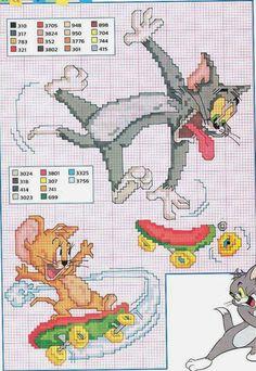 tom e jerry Cross Stitch Baby, Cross Stitch Kits, Cross Stitch Designs, Cross Stitch Patterns, Cross Stitching, Cross Stitch Embroidery, Tom Und Jerry, Craft Museum, Stitch Cartoon