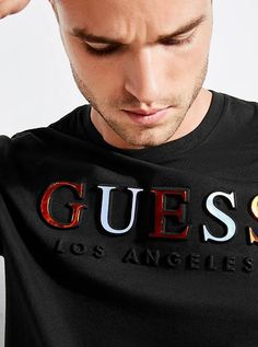 Embossed Logo Tee at Guess - Men's style, accessories, mens fashion trends 2020 Tank Shirt, Tee Shirts, Polo Shirt Design, Types Of T Shirts, Mexican Outfit, Clothing Logo, Herren T Shirt, Embossed Logo, Logo Nasa