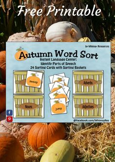 Free Printable Worksheet - Autumn Word Sort - Great for fall or Halloween language arts - parts of speech #affiliate