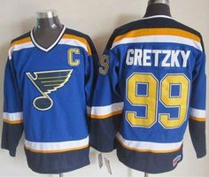"$34.88 at ""MaryJersey""(maryjerseyelway@gmail.com) Blues 99 Wayne Gretzky Light Blue CCM Throwback Stitched NHL Jersey"