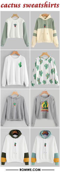cactus print sweatshirts from romwe.com