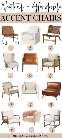12 of the best affordable neutral accent chairs for living room, bedroom, home office. Modern, Farmhouse, and minimalist styles. Upholstered Accent Chairs, Leather Accent Chairs.