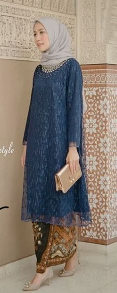 New Dress Brokat Syari Ideas Kebaya Modern Hijab, Kebaya Hijab, Kebaya Muslim, Muslim Dress, Model Kebaya Brokat Modern, Dress Brukat, Batik Dress, Kimono, Kebaya Lace
