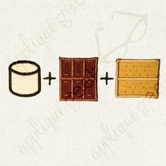 S'mores Recipe Applique Embroidery Design INSTANT DOWNLOAD for DIY projects, from Designed by Geeks. Use any embroidery machine - Brother, Viking, Janome, Bernina, Pfaff, Singer - to stitch this design.  This is an appliqué design of a s'mores recipe – marshmallow plus chocolate plus a graham cracker.