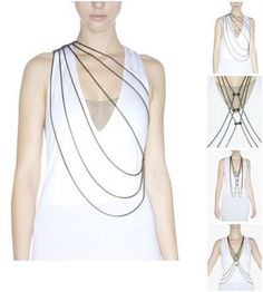 Bliss Lau's Versatile Body Chain Jewelry , cool & layered way to add a touch of metallic to your look