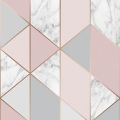 Marble Steel Geo from the Graham & Brown Boutique collection, shown here in blush pink and rose gold, A stunning metallic rose gold, pink and grey geometric with a fabulous contrasting marble effect. Pink And Silver Wallpaper, Grey Marble Wallpaper, Rose Gold Wallpaper, Cute Wallpaper Backgrounds, Iphone Wallpaper, Geometric Wallpaper Pink, Bathroom Wallpaper Grey, Girls Bedroom Wallpaper, Marble Wallpapers
