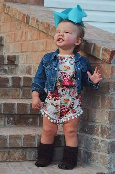 Pom Pom Romper - Floral - Bailey's Blossoms - 3