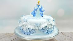 """Cinderella Princess Birthday Cake -  These doll cakes are courtesy of Cake Craft World.  A total BONUS about these cakes, is that you will use one of the Disney """"Descendants"""" dolls as your base, so you get an automatic birthday present when the cake is gone. One nice thing about the fondant is you don't have to worry about icing getting in the doll joints or hair. READ IT: http://grown-up-disney-kid.tumblr.com/post/131391331244/how-to-have-a-wickedly-evil-descendants-party"""