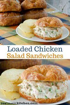 Loaded Chicken Salad Sandwiches includes the ingredients on a loaded baked potato. This version of creamy loaded chicken salad sandwiches includes what you would find on a loaded baked potato - sour cream, cheese, green onion, and bacon. Chicken Salad Recipes, Healthy Salad Recipes, Chicken Salad Recipe With Cream Cheese, Salad Chicken, Chicken Salad Sandwiches, Turkey Salad Sandwich, Chicken Salad Croissant, Rotisserie Chicken Salad, Taste Of Home Chicken Salad Recipe
