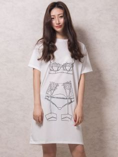 White Underwear Print Short Sleeve Tee Dress