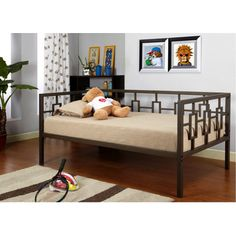 Leggett & Platt Miami Complete Metal Daybed with Link Spring and Trundle Bed Pop-Up Frame, Coffee Finish, Twin Day Bed Frame, Sofa Bed Frame, Bed Frames, Trundle Bed With Storage, Daybed With Trundle, Contemporary Daybeds, Metal Daybed, Kids Toddler Bed, Extra Bedroom
