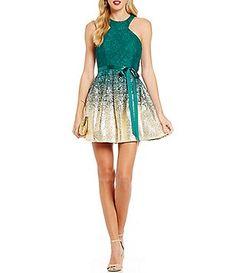 B. Darlin Racer Neckline Lace Foil Dipped Skater Dress